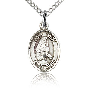 Sterling Silver 1/2in St Emily Charm & 18in Chain