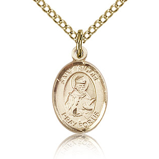 Gold Filled 1/2in St Isidore of Seville Charm & 18in Chain