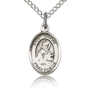 Sterling Silver 1/2in St Isidore of Seville Charm & 18in Chain
