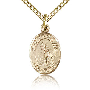 Gold Filled 1/2in St Joan of Arc Charm & 18in Chain