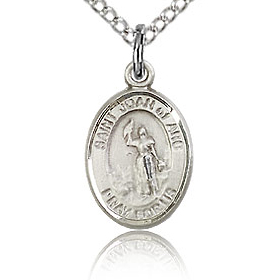Sterling Silver 1/2in St Joan of Arc Charm & 18in Chain