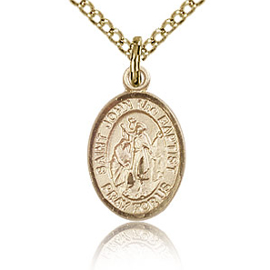 Gold Filled 1/2in St John the Baptist Charm & 18in Chain