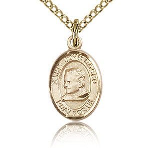 Gold Filled 1/2in St John Bosco Charm & 18in Chain