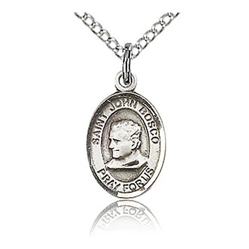 Sterling Silver 1/2in St John Bosco Charm & 18in Chain