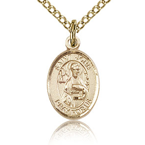 Gold Filled 1/2in St John the Apostle Charm & 18in Chain