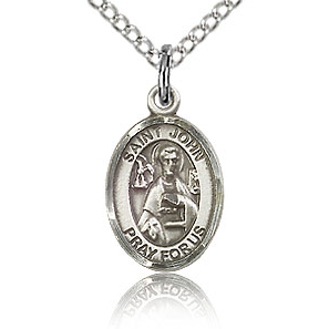 Sterling Silver 1/2in St John the Apostle Charm & 18in Chain