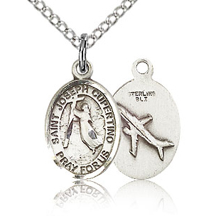 Sterling Silver 1/2in St Joseph of Cupertino Charm & 18in Chain