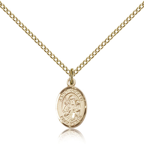 Gold Filled 1/2in St Joseph Charm & 18in Chain