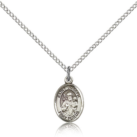 Sterling Silver 1/2in St Joseph Charm & 18in Chain