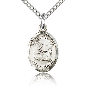 Sterling Silver 1/2in St Joshua Charm & 18in Chain