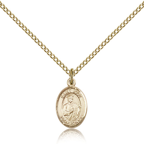 Gold Filled 1/2in St Jude Charm & 18in Chain