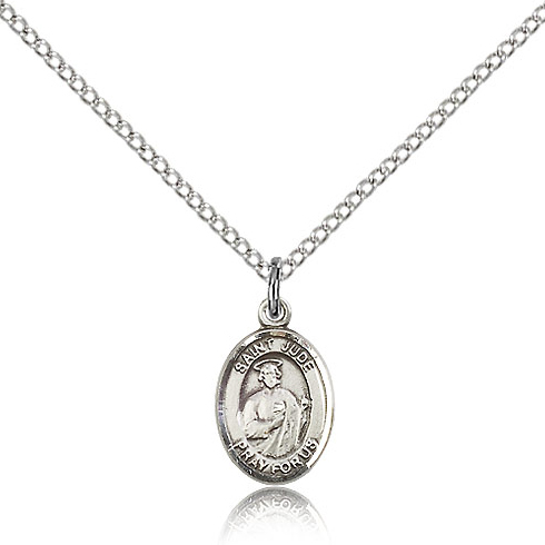 Sterling Silver 1/2in St Jude Charm & 18in Chain
