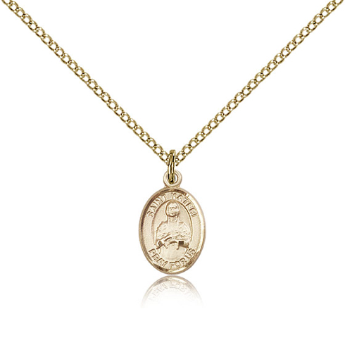 Gold Filled 1/2in St Kateri Charm & 18in Chain