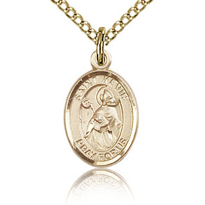 Gold Filled 1/2in St Kevin Charm & 18in Chain