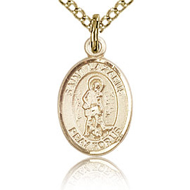 Gold Filled 1/2in St Lazarus Charm & 18in Chain