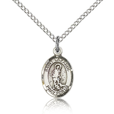 Sterling Silver 1/2in St Lazarus Charm & 18in Chain