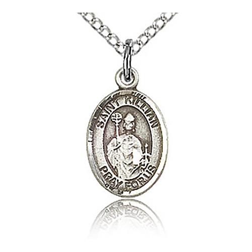 Sterling Silver 1/2in St Kilian Charm & 18in Chain