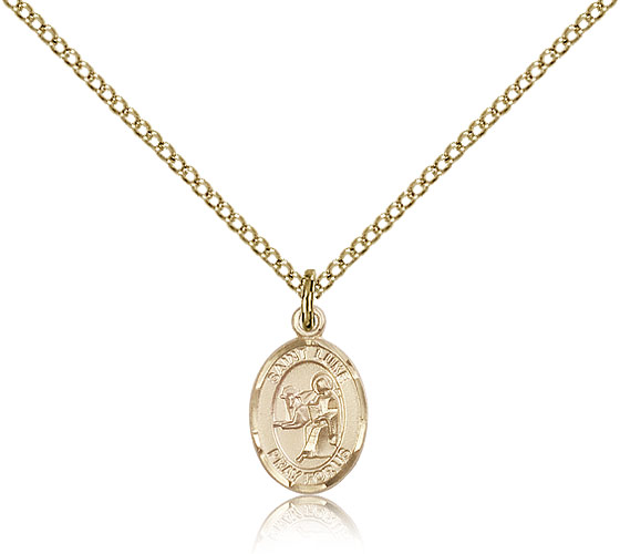 Gold Filled 1/2in St Luke Charm & 18in Chain