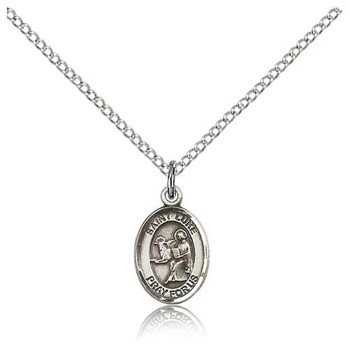 Sterling Silver 1/2in St Luke Charm & 18in Chain