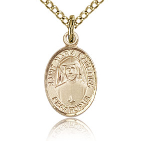 Gold Filled 1/2in St Maria Faustina Charm & 18in Chain