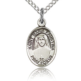 Sterling Silver 1/2in St Maria Faustina Charm & 18in Chain