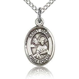 Sterling Silver 1/2in St Mark Charm & 18in Chain
