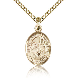 Gold Filled 1/2in St Mary Magdalene Charm & 18in Chain