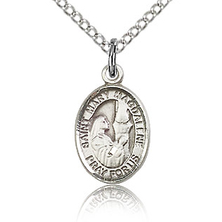 Sterling Silver 1/2in St Mary Magdalene Charm & 18in Chain