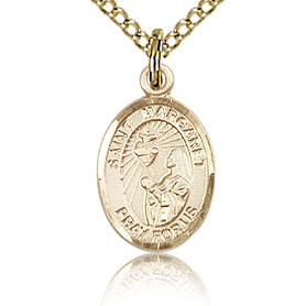 Gold Filled 1/2in St Margaret Mary Alacoque Charm & 18in Chain