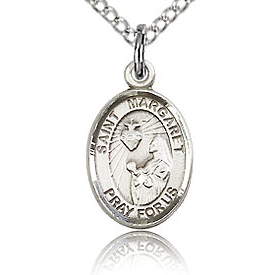 Sterling Silver 1/2in St Margaret Mary Alacoque Charm & 18in Chain