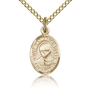 Gold Filled 1/2in St Maximilian Kolbe Charm & 18in Chain