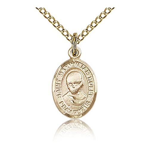 Gold Filled 1/2in St Maximilian Kolbe Charm & 18in Chain