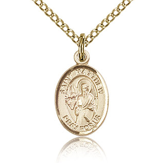 Gold Filled 1/2in St Matthew Charm & 18in Chain