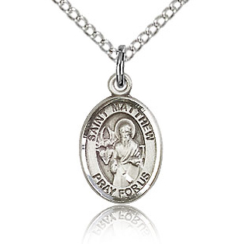 Sterling Silver 1/2in St Matthew Charm & 18in Chain