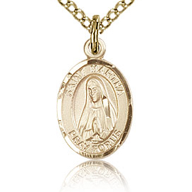 Gold Filled 1/2in St Martha Charm & 18in Chain