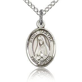 Sterling Silver 1/2in St Martha Charm & 18in Chain
