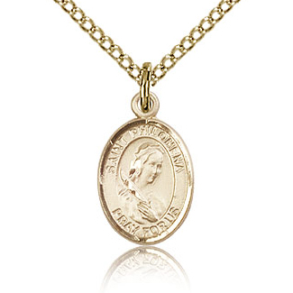 Gold Filled 1/2in St Philomena Charm & 18in Chain