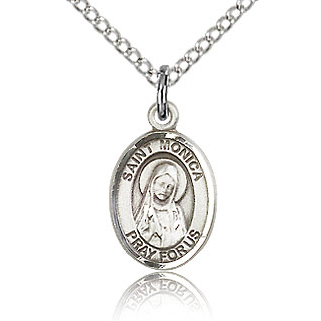 Sterling Silver 1/2in St Monica Charm & 18in Chain