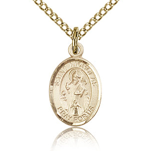 Gold Filled 1/2in St Nicholas Charm & 18in Chain