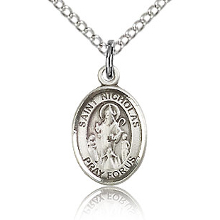 Sterling Silver 1/2in St Nicholas Charm & 18in Chain