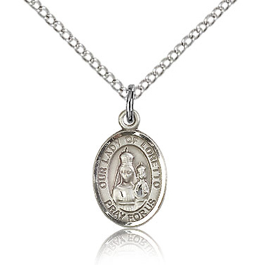 Sterling Silver 1/2in Lady of Loretto Charm & 18in Chain