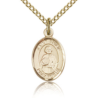 Gold Filled 1/2in St Philip the Apostle Charm & 18in Chain
