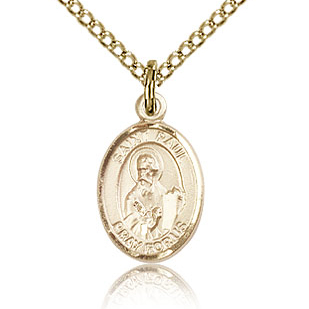 Gold Filled 1/2in St Paul the Apostle Charm & 18in Chain