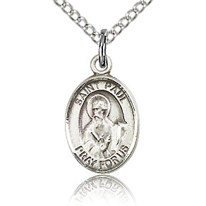 Sterling Silver 1/2in St Paul the Apostle Charm & 18in Chain