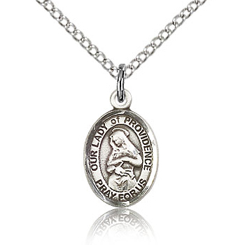 Sterling Silver 1/2in Lady of Providence Charm & 18in Chain