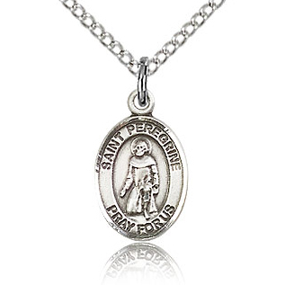 Sterling Silver 1/2in St Peregrine Charm & 18in Chain