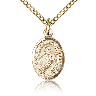 Gold Filled 1/2in St Martin de Porres Charm & 18in Chain