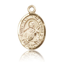 14kt Yellow Gold 1/2in St Martin de Porres Charm