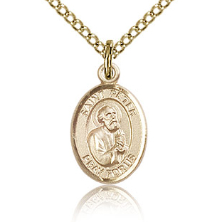 Gold Filled 1/2in St Peter Charm & 18in Chain