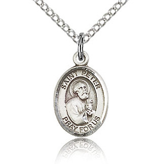 Sterling Silver 1/2in St Peter Charm & 18in Chain